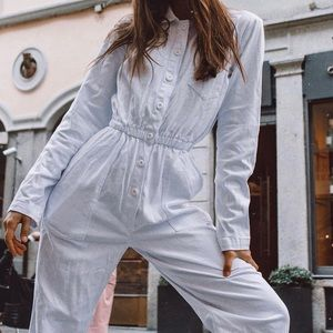 Brandy Melville white Dylan jumpsuit coveralls NWT